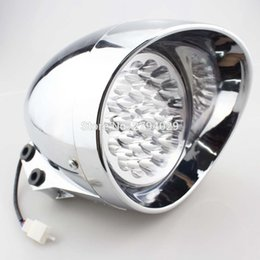 Wholesale Lights For Honda - Motorcycle Custom LED Bullet Chrome Headlight White Light For Harley Choppers Cruise Honda Steed Shadow Free Shipping
