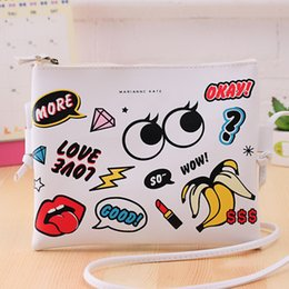 Wholesale Wholesale Mini Envelopes - Wholesale- New Fashion Cartoon Printed Women Graffiti Handbag Mini Crossbody Shoulder Bag Ladies Casual Purses Clutches Girls Handbag