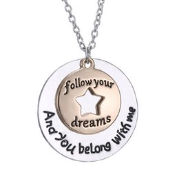 Wholesale Heart Dreams - Shiny Silver Alloy Charm Necklace In Star Round Dream Design With Engraving Black Letter Gift Fashion Jewelry