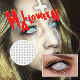 Wholesale Scary Crazy Contact Lenses Styles of Halloween Contacts White Out Blood Red Eye White Mesh Contact Lenses Ready Stock
