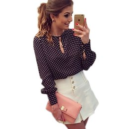 Wholesale Studded Blouses - Polka Dots Silk Chiffon Blouse Shirts Plus Size Long Sleeve Studded Blouses Hollow Sexy Blusas O Collar Slim Women Blouse Tops