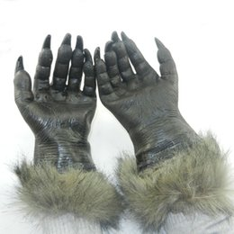 Wholesale Mask Horror Wolf - Wholesale-Halloween Horror Devil Masks Silicone Rubber Masks Party Halloween Gloves Wolf Mask Wolf Gloves Halloween Scary Horror Masks