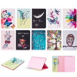 Wholesale Ipad Mini Bear Cases - For iPad Mini 5 Cases with Card Pockets Colorful Life Tree Evil Laugh Bear Giraffe Sun Flower Butterfly Olw Flos Mume Feather Birds