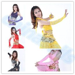 Wholesale Arm Belly Dancing - bead embroidery belly dance sleeve arm sleeves belly dance gloves cuff Indian Egyptian dance stage Performance costumes
