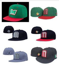 Wholesale Closed Cap Hats - NEW Sale Green Mexico Baseball Cap Embroidery Team logo Gorra de beisbol Full Closed Design Mexico Fitted Caps For Men & Women Sport Hat