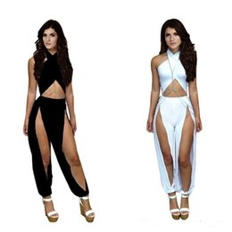 Wholesale Sexy Womens Dress Suits - Fashion Summer Jumpsuits Suits Womens Sexy Irregular pants Evening Dress Jumpsuit Casual Bodysuit Sleeveless Vestidos Party Overall