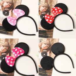 Wholesale Mouse Decorations - Children mickey and Minnie mouse ears headband girl boy headband kids birthday party supplies decorations WD381
