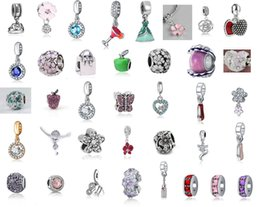 Wholesale pandora heart dangle charms - Fit Pandora Charm Bracelet 37 Styles Silver Enamel Charms Pendant Bead 925 Silver Dangle DIY Jewelry European Snake Chain Necklace & Bangle