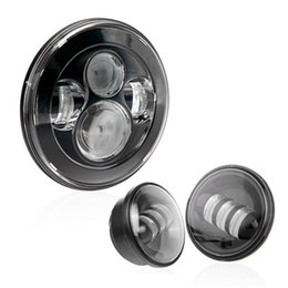 Wholesale motorcycle lamp led auxiliary - Black Harley Daymaker 7INCH Round led headlight + Pair 4.5 inch LED Auxiliary Spot Passing Lamps for Harley Davidson Motorcycles