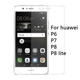 Wholesale Phone Huawei P6 - Wholesale-0.26mm 9H Premium Tempered Glass for huawei P6 P7 P8 P8 lite Screen Protector Film phone case Free Shipping