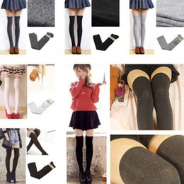 Wholesale Ladies Sexy Legging - Wholesale-1 pair Hot Long Half Over Knee Thigh High Ladies Girls School Sexy Stocking summer style women legging