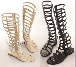 Wholesale Designer Summer Boots - 2016 Women Sandals Summer Flats Sexy Knee High boots gladiator Sandals women Casual flats Shoes designer free shipping