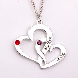 Wholesale Heart Birthstone Necklace - Wholesale-Engraved Two Heart Necklace with Birthstones 2016 New Arrival Long Birthstone Necklaces Custom Made Any Name YP2486