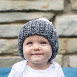 baby yarns knitting Coupons - Fashion Baby Girls Crochet Woolen Yarn Hats Kids Hand Made Knitting Warm Caps Earflap Autumn Winter Beanie Ear Warmer with hair bulb BH20