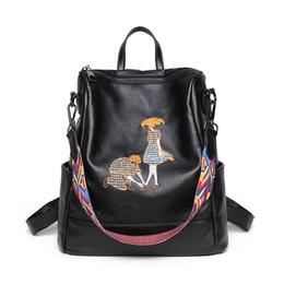 Wholesale leather backpack satchel korean - Korean Embroidery Lovers Preppy Style backpack fashion Sheepskin Genuine leather backpack kids backpacks for women designer