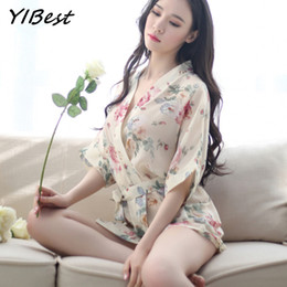 Wholesale Lingerie Short Robes - YIBest Sexy Kimono Women Underwear Lingerie Slik Solid Robe Lady Satin Night Gown Pajamas Sleepwear Women's Free Shipping