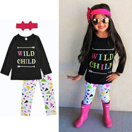 Wholesale Cute Girls Pants Outfits - Baby Girls Long Sleeve T-Shirts 3 Pieces Sets + Pants + Headband Clothing Sets Girls Spring Autumn Outfits Children Cotton Suits