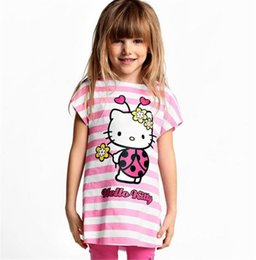 Wholesale Kitty Shorts - Wholesale- New 2017 Baby Kids Hello Kitty Clothing Set Girl Suit 2Pcs T-Shirt+Pants Girls Summer Sets Clearance 15E