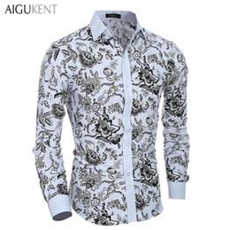 Wholesale Men Brand Name Shirt - Wholesale- Casual Men'S Shirts Men Long Sleeve Slim Fit Classic Family Name Print Chemise Homme Brands AIGU KENT Turn-Down Collar Camisas