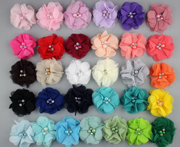 Wholesale Dog Flower Clips - 50Pcs 2.2'' handmade flower pet hairpins chiffon beads dog hair accessories 31 color mix hair clip Barrettes puppy bowknot grooming PD106