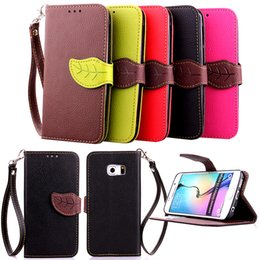 Wholesale S3 Pu Flip Card - PU Leaf Leather Flip Fold Wallet Case with [ID&Credit Card Slot] for Samsung Galaxy I9300 S3 I9500 S4 I9600 S5 S6 S7 edge S8 Plus