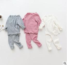 Wholesale Christmas Pajamas For Boys - Owlbaby Kids Pajamas for Baby Boys Girls Solid Color Ruffle Pyjamas Top Quality Cotton Sleepwear Girls Nightwear Baby Pyjamas Kids Clothing