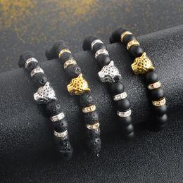 Wholesale Porcelain Buddha - Natural Lava Stone Bracelet For Women Men Leopard Head Buddha Beads Matte Black Beaded Bangle Crystal Rhinestones Animal Jewelry