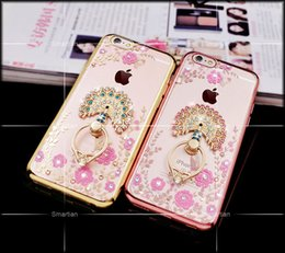 Wholesale Diamond Crystal Case Phone - Luxury Bling Diamond Ring Holder Phone Case Crystal TPU Flower Peacock Rhinestone Cover for Iphone 6 6s 6plus iphone 7 7 plus with Kickstand