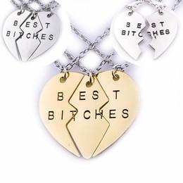 Wholesale Heart Jigsaw Necklace - 2 3pcs set Broken Heart Best Bitches Necklaces Kits Split Hearts Jigsaw Puzzle Pendants Necklace for Women Best Friend jewelry 160340