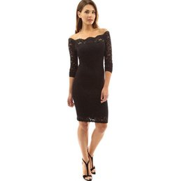 Wholesale Empty Dresses - Good A++ Spring new women lace silk empty long sleeves sexy Slim was thin skirt dress LX022