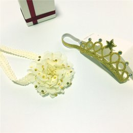 Wholesale Tiaras Headbands For Girls Wholesale - Baby Hair Accessories Set Baby Crown Elastic Tiaras Hair Ties Toddle Chiffon Headband For Girl Gold Bow