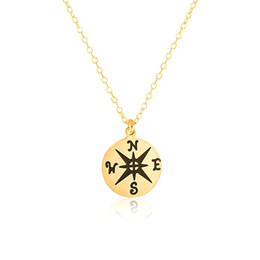 Wholesale Compass Necklaces For Women - Wholesale 10Pcs lot 2017 New Arrival Simple Stainless Steel Jewelry Pendant Compass Gold Chains Choker Necklaces For Women Collier