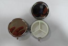 Wholesale Silver Metal Round Pill Box - DHL Free 50PCS LOT Round Metal Pill Organizer Box of Medicine DIY Silver Color Boxes