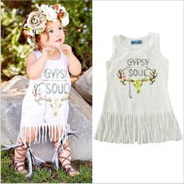 Wholesale Gypsies Dresses - Baby Girls Tassel Cartoon Dresses Kids Girls Cotton Fashion Dress 2017 Babies Summer Letter GYPSY SOUL Dress children's clothing