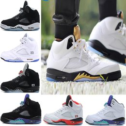 Wholesale Grape Basket - Newest Air retro 5 men Basketball Shoes Olympic OG metallic Gold Red blue Suede CDP Black Metallic white grape Fire Red Sport Sneakers