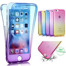 Wholesale Lighting Color Gels - Gradient Color Ultra Thin 2in1 Soft TPU Case For iPhone X 8 Plus 360 Protection Full Body Slim Transparent Gel Shockproof Cover Skin