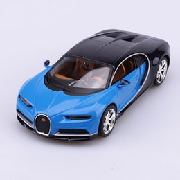 Wholesale Train Models Toys - Bugatti Chiron Car Model Toys 1 24 Scale Blue Diecast Racing Car Vehicles Model Toys For Children Christmas Gifts Collections