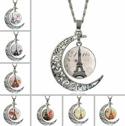 Wholesale Stainless Steel Necklace Eiffel - Best gift Hot Holder Carved Moon Eiffel Tower Time Gemstone Necklace WFN173 (with chain) mix order 20 pieces a lot