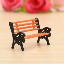 Wholesale Bathroom Benches - Resin Crafts Modern Park Benches Miniature Fairy Garden Miniatures Accessories Toys for Doll House Courtyard Decoration