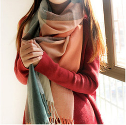 Wholesale Red Plaid Wool Blanket - DHL FREE Winter Scarf Women Blanket Plaid Scarf Female Shawls And Scarves Warm Women Tippet Lic