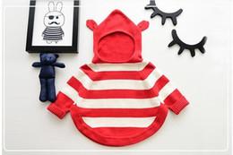 Wholesale Girls Knit Jacket - New Baby Sweater Outwear Kids Stripe Sweater Jackets Girl Winter Knitting Hoodies Long Sleeve Top Red black 2 Colors