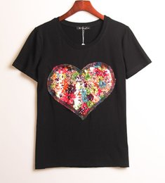 Wholesale White Sequin Heart Top - Wholesale-Hot New Runway 2016 T-shirts for women summer sequin heart embroidery t shirt ladies fitness harajuku black white top tees
