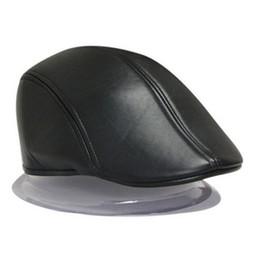 Al por mayor-2016 Moda Mujeres Beret Hat PU Hombres de cuero Newsboy Cabbie  Golf Baker Ivy Cap Negro b5e1e4c32dc