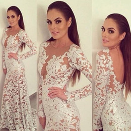 Wholesale Brown Open Jacket Women - Sexy Open Back Full Lace Mermaid Prom Dresses Long Sleeves Sweep Train Plus Size Arabic Women Formal Evening Gowns For Party Dress