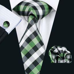 Wholesale Men S Neck Ties Silk - LS-942 2016 Hot Sell Men`s Green Plaid 100% Silk Tie Gravata Hanky Cufflink Set For Men Formal Wedding Party Groom Free Shipping