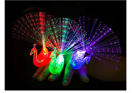 Wholesale Peacock Christmas Decor - New Creative Peacock Finger Lights Kids LED Flash Glow Rings Lamps Christmas Party Decor Children Birthday Gifts Toys
