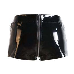 skinny girl leather UK - New hot 2017 Fashion Sexy Lady Faux leather PVC Shorts PUNK Girl zipper Open Crotch Hot Shorts Plus Size S-XXL