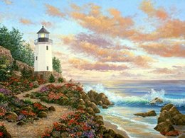 Wholesale Seaside Canvas - 5D Diamond Embroidery needlework diy Diamond painting Cross Stitch Kits Seaside Lighthouse full round diamond mosaic Room Decor yx0786