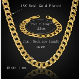 Wholesale Thick Gold Bracelets - Dubai African Jewelry Set Hiphop Thick Chain Gold Color Mens Jewelry Sets Necklace Bracelet Sets For Men, Male Jewelery Sets