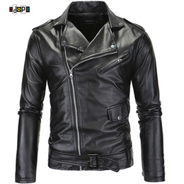Wholesale Fitted Leather Jackets - Wholesale- Punk Style Brand Clothing PU Leather Jacket Men Motorcycle Slant Zipper Slim Fit For Men